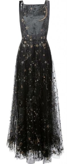 stars & moon embroidered dress : valentino
