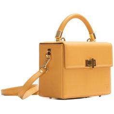 Hédara - Block Mustard (15,270 MXN) ❤ liked on Polyvore featuring bags, handbags, handbag purse, genuine leather handbags, leather handbag purse, white hand bags and real leather purses