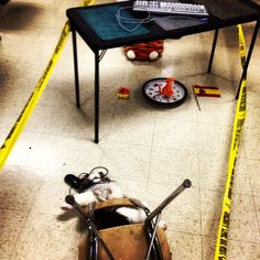 Preposition crime scene in Spanish class. Students use scene to describe location of objects and then followed up with a writing activity. #realidades2b