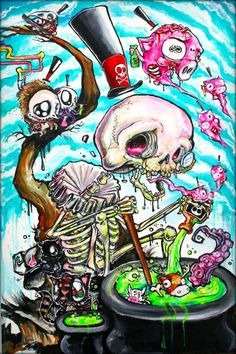 Skeleton by ghost town art by Imamachinist aka Alister Dippner