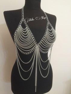 silver body chain body necklace body jewelry chain by MukoShop Body Chain  Jewelry b036109ff96