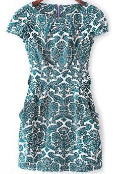Green Short Sleeve Floral Bow Slim Dress