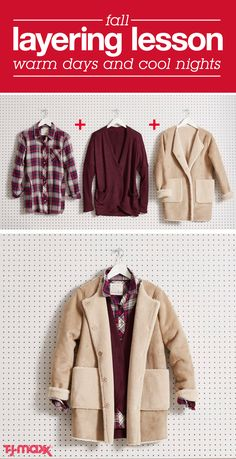 Layering is the secret to staying fashionable this fall. Keep things simple with a classic button-down and drapey cardigan. If you're looking for wow without weight, a faux shearling car coat will be your closet MVP. Shop fall layers at tjmaxx.com.