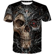 Mechanical Skull Punk T-Shirt | Skullflow Casual Tops, Casual Shirts, Men Casual, 3d T Shirts, T Shirts For Women, Skull Shirts, Harajuku, Tee Shirt Homme, Outfits