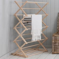 Buy The Wooden Clothes Horse by Garden Trading Online UK. Contemporary Designer Clothes Horse from Garden Trading's Wooden Collection. Modern Garden Trading Wooden Clothes Horse Made From Beech Wood. Wooden Drying Rack, Drying Rack Laundry, Clothes Drying Racks, Clothes Dryer, Clothes Horse, Hanging Clothes Rail, Deco Studio, Looks Vintage, Decoration