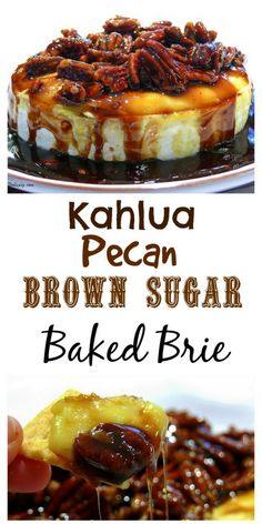 This Kahlua-Pecan-Brown Sugar Baked Brie is going to rock your next party, gathering or celebration. The brie comes out of the oven gooey and oozing and awaiting it's sweet and delicious topping. It is a must make any time of the year. Fodmap, Isagenix, Appetizer Recipes, Dessert Recipes, Baked Brie Appetizer, Costco Appetizers, Delicious Appetizers, Quick Appetizers, Delicious Desserts