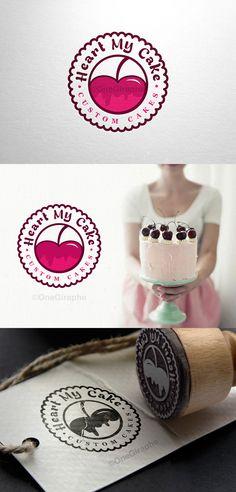Idea of making a stamp, instead of printing stickers … Bruno Bastos – Cake Cake Business, Business Card Logo, Cupcake Logo, Cupcake Bakery, Cherry Logo, Cake Branding, Cake Logo Design, Sale Logo, Name Card Design