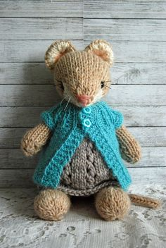 Cecily Knitted Woodland Mouse Toy in Grey Dress by AuntieShrews