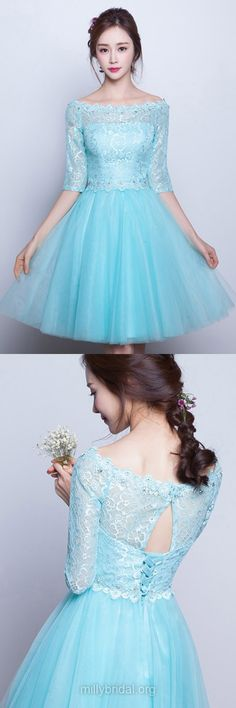 Short Prom Dresses Blue,Pretty A-line Homecoming Dresses Scoop Neck, Lace Party Dresses Tulle Beading, 1/2 Sleeve Prom Dresses Modest