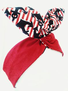 Rockabilly Pin Up Haarband Rot Streifen Anker von magmaAccessoires, €7.50
