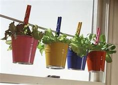 cute idea for an herb garden in the kitchen. Use a tension rod, clothes hangers and pails.
