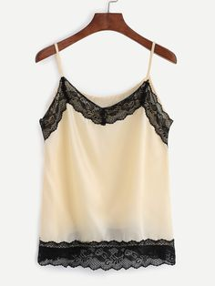 7718a93169c90 Shop Beige Contrast Lace Trim Cami Top online. SheIn offers Beige Contrast  Lace Trim Cami Top   more to fit your fashionable needs.