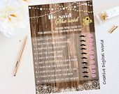 Rustic Bridal Shower Wedding Printable Game He Said She Said, Sunflowers,Lace Bridal Shower,String Lights,Baby's Breath,Floral,Digital File
