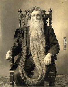 The longest beard in history, 1867. The man died by breaking his neck after stepping on his own beard.
