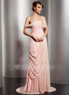 b72144687c A-Line Princess Off-the-Shoulder Watteau Train Chiffon Evening Dress With  Ruffle Flower(s) (017014578)