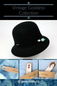 Classic black cloche, shown here with a vintage style hat pin                 gifts for women who have everything