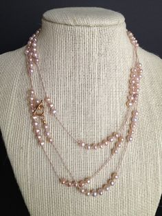 Layered Necklace Champagne Pink Freshwater by WhiteOrchidJewelry