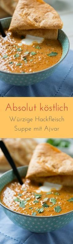 Ajvar Suppe mit Hackfleisch – ideal zur Zubereitung im Slowcooker Incredibly delicious – without seasoning and prepared in just a few minutes – this Ajvar minced meat soup is the absolute cracker and perfect for the next party