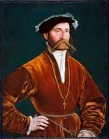 Portrait of a Nobleman  before 1540, Circle of Hans Holbein    Beautiful russet red velvet paltrock, with surplice front fastening.