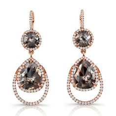 Kifani Rose Gold Earrings with 8.47tw of Reddish Grey Polished Rough Diamonds Diamond Stacking Rings with multi-color rose cut diamonds accented with white diamond melee in 18kt rose gold #Rahaminov #diamonds #RahaminovDiamonds #earrings #fashion #style