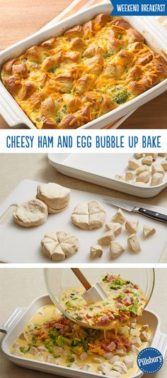 Meet your new weekend breakfast favorite! No one can resist this Cheesy Ham and Egg Bubble-Up Bake and it's super easy to make. It's loaded with vegetables, ham, cheese and biscuits so you know your friends and family will be coming back for more!