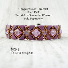 """Bead Pack for """"Tango Passion"""" Bracelet From Samantha Wescott - Tutorial Available Separately - Colorway by Claire"""