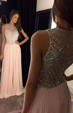 Elegant Long Light Pink Chiffon Prom Dresses with Beading Bodice,Evening Dresses