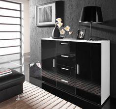 Komoda CAMA F Bílý / Černý lesk (BLACK) Komodo, Cabinet Doors, Walmart Shopping, Sideboard, Uni, Kitchen Appliances, Storage, Home, Design