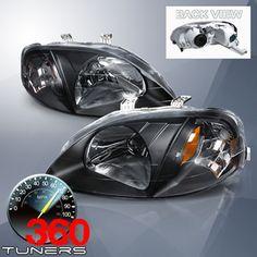 99-00 Honda Civic Crystal Headlights - Pair (Black)