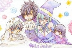 Fairy tail// Juvia and Gray family Fairy Tail Kids, Fairy Tail Meme, Fairy Tail Gray, Fairy Tail Family, Fairy Tail Natsu And Lucy, Fairy Tail Couples, Fairy Tale Anime, Fairy Tales, Juvia And Gray