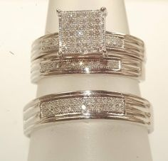 His& Her Diamond Engagment and Wedding Trio Ring Set Jewelry . $249.00. three piece set all maching with thick silver. .51 ct diamonds. rows of micro pave diamond. 925 sterling silver. all rings matching design. Save 69%!