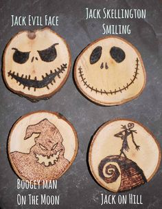 Beautiful handmade wood burned Halloween decorations. Approx 7-10cm wide. Inspired by the movie The Nightmare Before Christmas.