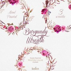Watercolor Burgundy Wreaths with Floral elements and Feathers. Boho style, Stag horns, Individual PNG files. Wedding Invitations Clipart