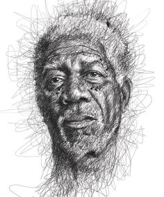 Artist Vince Low has turned once-aimless doodling into Scribble Art, which is an advanced art form of penmanship. Described as Scribbles with life, Vince Low's works are invariably in portrait form. Face Sketch, Drawing Sketches, Art Drawings, Drawing Style, Drawing Faces, Pencil Drawings, Portrait Au Crayon, Pencil Portrait, Portrait Art