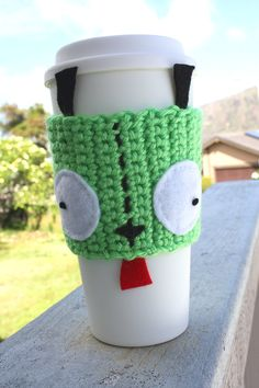 Gir Inspired Coffee Travel Mug Cup Cozy from Invader Zim: Eco - Friendly Crochet Knit Sleeve---- MUST MAKE FOR ROBYN!!!