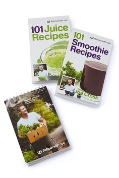 Recipe Book Bundle $49.99 Our recipe package includes Joe Cross' latest 101 Smoothies Recipes, the best-selling 101 Juice Recipes, and Plant Based Recipes. You'll be prepared with plenty of healthy recipes for before, during and after your Reboot.