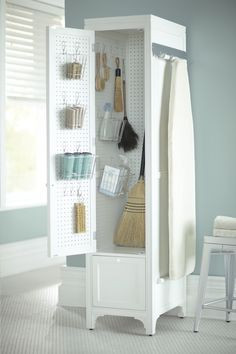 Martha Stewart Living, 78 in. H x 18 in. W Laundry Storage Linen Cabinet with Peg Board in Picket Fence, 1364400410 at The Home Depot - Tablet Linen Storage Cabinet, Laundry Room Storage, Storage Spaces, Laundry Cart, Broom Storage, Ikea Laundry, Laundry Rooms, Utility Closet, Ideas Para Organizar