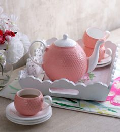 Buy Sanjeev Kapoor's Peach Tea Set Online: Shop from wide range of Teapots Online in India at best prices. Sanjeev Kapoor, Kitchenware, Tableware, Buy Tea, Large Homes, Bone China, Tea Set, Mint Green, Peach