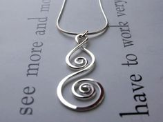 Whirlwind Pendant Sterling Silver Artisan por AUNALIArtisanMetal, $45,00