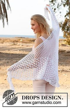 148-6 Summer Princess - Shawl with lace pattern in Safran by DROPS design