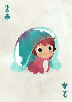 "Studio Ghibli Playing Cards Ponyo artwork by artist ""Liza Sou"". Totoro, Studio Ghibli Art, Studio Ghibli Movies, Studio Ghibli Characters, Hayao Miyazaki, Chibi, Fan Art, Tree Art, Cute Drawings"