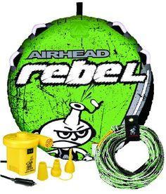 AIRHEAD AHRE-12 Rebel Tube, Rope and Pump Kit - http://www.skiyouth.com/ski-equipment-deals/kids-water-ski-deals/airhead-ahre-12-rebel-tube-rope-and-pump-kit/
