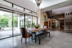 Love the wall of window to the left in this modern cathedral home