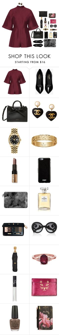 """""""Because she is smart and wise"""" by xoxomuty on Polyvore featuring Valentino, Yves Saint Laurent, Chanel, Rolex, Gucci, Bobbi Brown Cosmetics, Givenchy, Casetify, Christian Dior and Prada"""