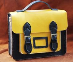 Image of Handmade Genuine Leather Satchel / Messenger Bag / Backpack - Black with Yellow(l2)