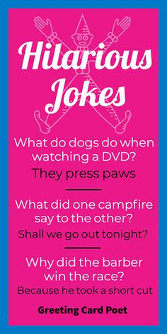Funny jokes to give friends and family a laugh or two. Great for car trips, the dinner table, classroom fillers, and more. Funny Jokes And Riddles, Short Jokes Funny, Funny Jokes For Kids, Corny Jokes, Dad Jokes, Science Jokes, Funny Quotes, Funny Memes, Funny Captions