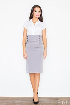 Pencil skirt in shades of gray with decorative stripes emphasize waists