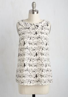 When you have to wear a spiffy ensemble but don't want to don a dress, choose this ivory top! With its adorable, freehand-inspired print of black cats, its curved collar, and smooth, woven fabric, this ModCloth-exclusive blouse shows that no stylish detail is missed on you.