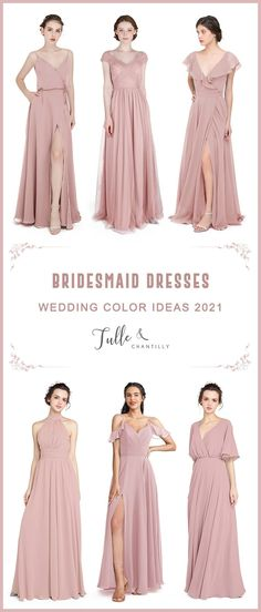 2021 wedding color ideas with mismatched dusty rose bridesmaid dresses on budget Dusty Rose Bridesmaid Dresses, Brides And Bridesmaids, Long Shorts, Formal Dresses, Wedding Dresses, Wedding Colors, Fashion Dresses, Tulle, Wedding Inspiration