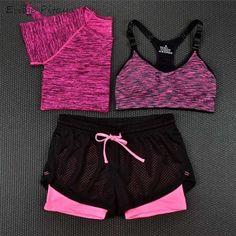 2017 3 Pieces Women Fitness Yoga Set T-Shirt & Bra & Cropped Trousers Sport Set Gym Clothes Sport wear Training Suit quick dry